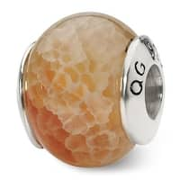 Sterling Silver Reflections Peach Cracked Agate Stone Bead (4mm Diameter Hole)
