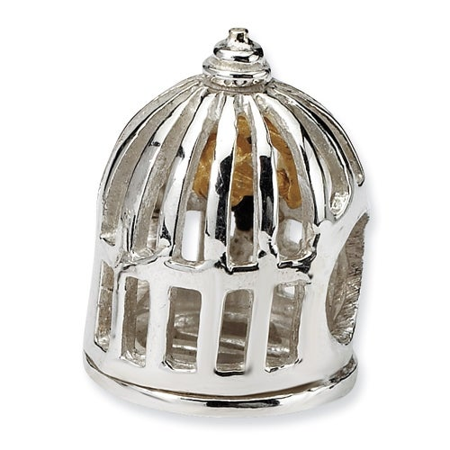 Sterling Silver & 14k Reflections Bird Cage Bead