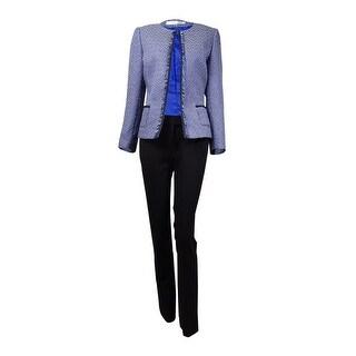 Tahari Women's Frayed Trim Scoop Neck Tweed Pant Suit