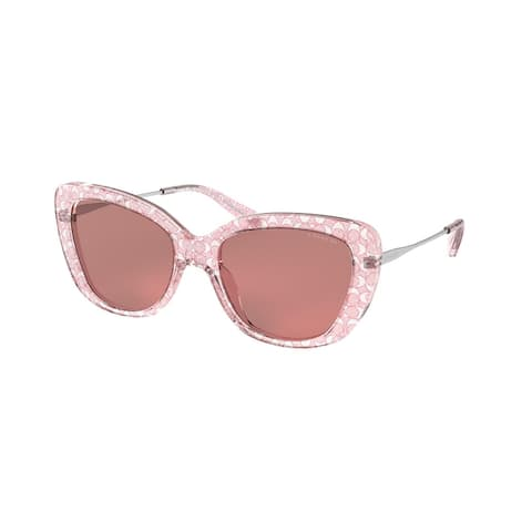 Coach HC8291 5586M6 54 Pink Glitter Signature C Woman Rectangle Sunglasses