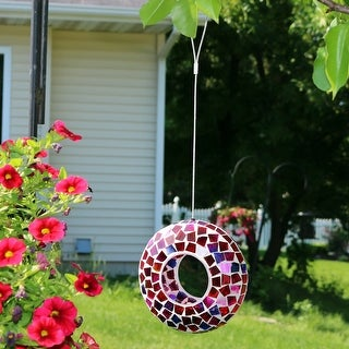 Sunnydaze Crimson Glass Mosaic Fly-Through Hanging Outdoor Bird Feeder - 7-Inch