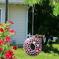 Sunnydaze Crimson Mosaic Fly-Through Hanging Outdoor Bird Feeder - 7-Inch