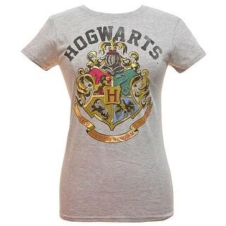 Harry Potter Girls' Distressed Hogwarts School Crest Logo T-Shirt