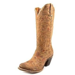 Lucchese Floral Printed Fashion Round Toe Suede Western Boot