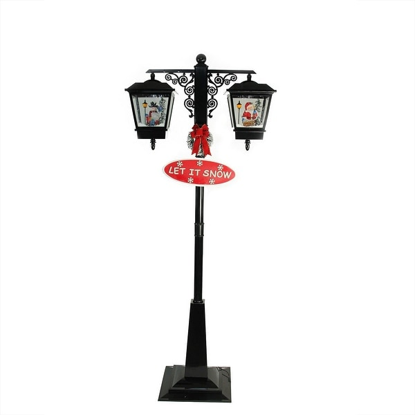 "74"" Lighted Black Musical Snowing Santa and Snowman Double Christmas Street Lamp"