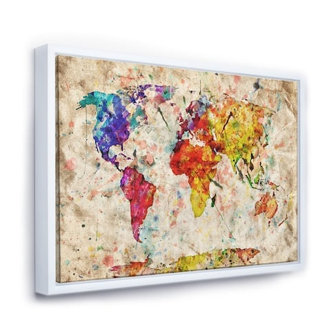Designart 'Vintage World Map Watercolor' Map Framed Canvas Art Print