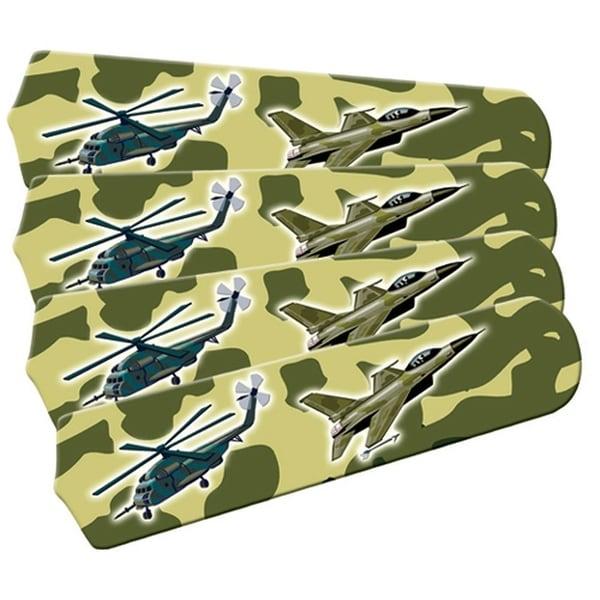 Green Military Fighter Jet Custom Designer 42in Ceiling Fan Blades Set - Multi