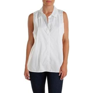 Aqua Womens Sleeveless Collar Button-Down Top