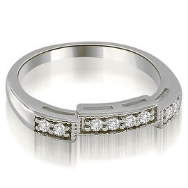 0.15 cttw. 14K White Gold Antique Style Milgrain Round Cut Diamond Wedding Ring