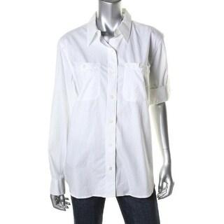 LRL Lauren Jeans Co. Womens Button-Down Top Cotton Pockets
