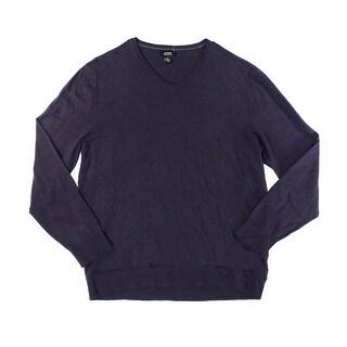 Alfani NEW Deep Purple Mens Size XL Ribbed-Knit V-Neck Pullover Sweater