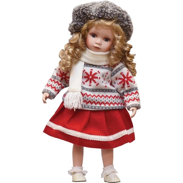 """17"""" Porcelain """"Erin"""" with Cream Scarf Standing Collectible Christmas Doll - WHITE"""
