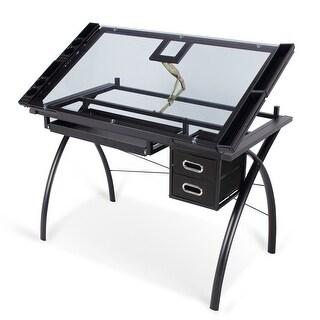 BELLEZE Home Studio Office Work Art Drawing Craft Adjustable Desk Table Glass Top, Black