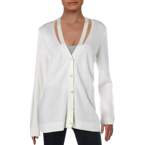 Elie Tahari Womens Nellie Cardigan Sweater Merino Wool Cut-Out - Antique - L