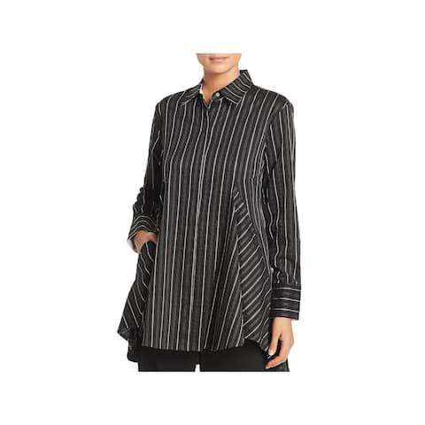 Donna Karan Womens Button-Down Top Striped Tunic
