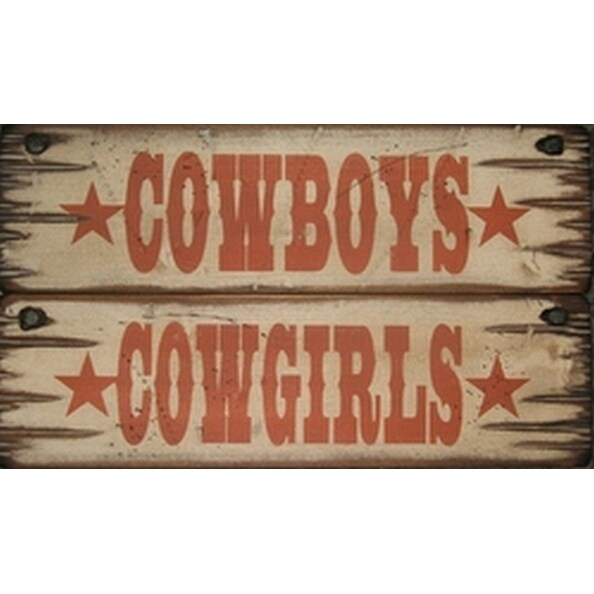Cowboy Signs Wood Wall Hanging Cowboys Cowgirls 2 pc Set Brown - 5 x 16
