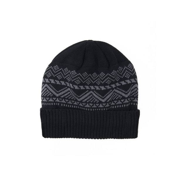 75b65c689ed Shop Muk Luks Hat Mens Pattern Fleece Lined Fold Over One Size - gray - Free  Shipping On Orders Over  45 - Overstock - 18967341