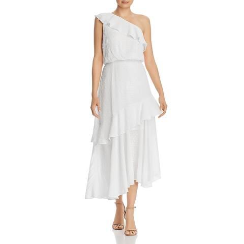 WAYF Womens Erika Maxi Dress One Shoulder Ruffled