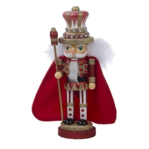 "10"" Hollywood Red and Gold Decorative Wooden King Christmas Nutcracker Table Top Decoration"