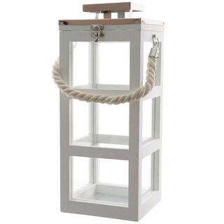 "Decoris 861095 Fir Wood Lantern, 16"", White"