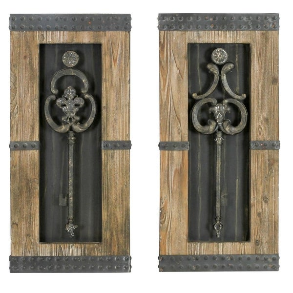 Aspire Home Accents 68402 Antique Key Wood Wall Decor (Set of 2) - Antique Brown - N/A