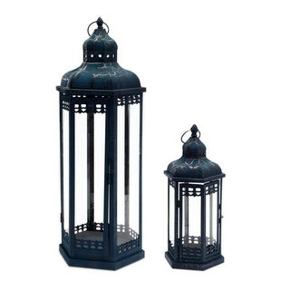 Set of 2 Distressed and Crackled Midnight Blue Mirage Pillar Candle Lanterns 24""