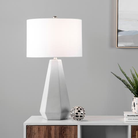 """nuLOOM Oslo 28"""" Cement Table Lamp - 15""""W x 15""""D x 28""""H"""