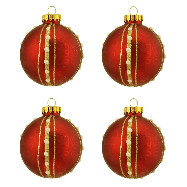 "4ct Matte Red with Swirls & Gold Striped Design Glass Ball Christmas Ornaments 2.5"" (65mm)"