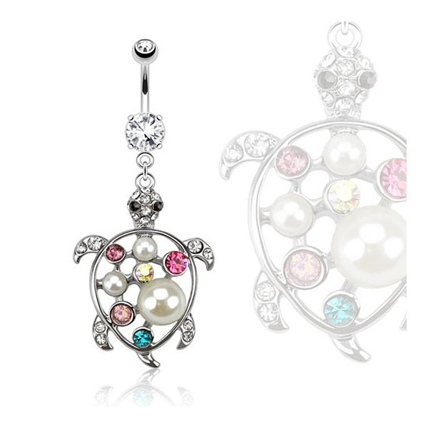 Turtle Multi Color Gemmed with Pearl Dangle Navel Belly Button Ring 316L Surgical Steel (Sold Ind.)