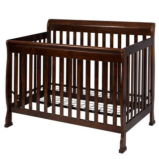 Costway Coffee Pine Wood Baby Toddler Bed Convertible Crib Nursery Furniture Children