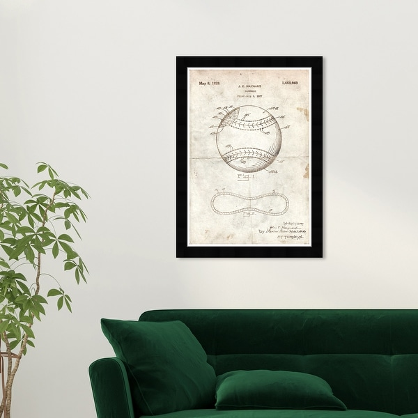 Wynwood Studio 'Baseball 1928 Parchment' Sports and Teams White Wall Art Framed Print. Opens flyout.