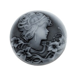 Vintage Style Round Lucite Cameo - Black With Gray Woman And Flowers 32mm (2)