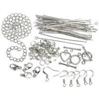 479878 Jewelry Basics Metal Findings 145-Pkg-Silver Starter Pack