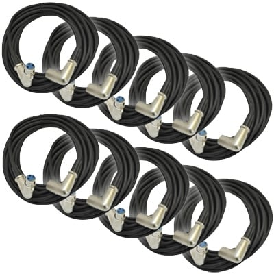 Seismic Audio - 10 Pack of XLR Right Angle Microphone Cable - 25' Foot Mic Cord