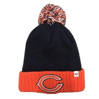 NFL Youth '47 Chicago Bears Cuffed Pom Beanie Hat Black/Orange OS - One size