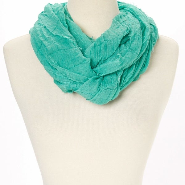 1b35b610ca499 Shop Green Textured Infinity Scarf with plaid design, Handmade Scarf, Eternity  Scarf, Spring, Summer, Infinity Scarf - Free Shipping On Orders Over $45 ...