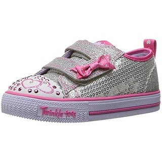 Skechers Twinkle Toes Shuffles Itsy Bitsy Girls Light Up Sneakers Silver/Hot Pink 7.5
