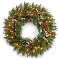 """24"""" Frosted Berry Wreath with Clear Lights - green"""