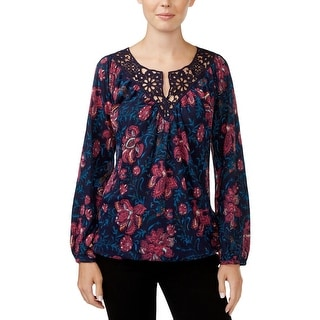 Lucky Brand Womens Peasant Top Floral Crochet Trim