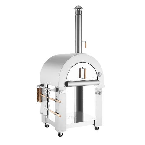Empava Free Standing Wood Burning Outdoor Pizza Oven in Stainless Steel