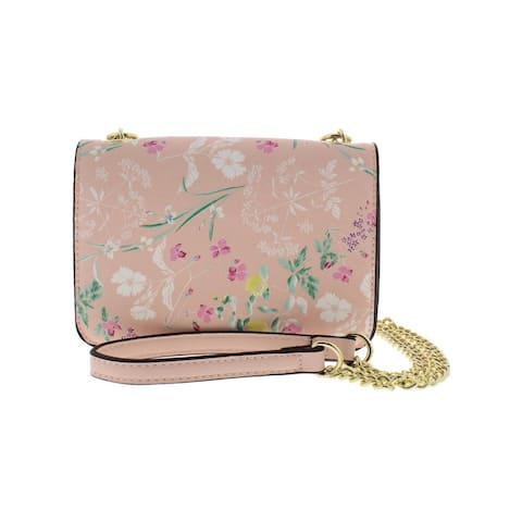 BCBGeneration Womens Lilah Crossbody Handbag Faux Leather Floral - Small