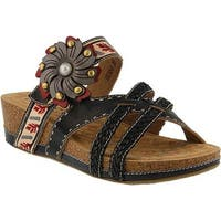 L'Artiste by Spring Step Women's Deonna Slide Black Multi Leather