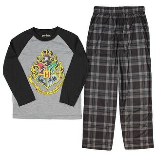 Intimo Big Boys' Harry Potter Hogwarts School Crest Raglan Pajama Set