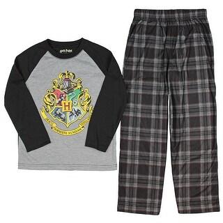 Intimo Big Boys' Harry Potter Hogwarts School Crest Raglan Pajama Set (2 options available)