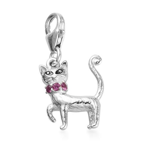 Platinum Over 925 Sterling Silver Rhodolite Garnet Charm Accessories