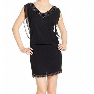 S.L. Fashions Black Women's Size 14 Embellished Chiffon Blouson Dress