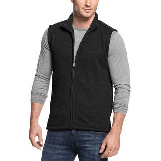 Club Room Sherpa Lined Full Zip Vest Deep Black Solid Small S