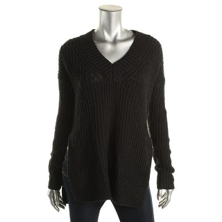 Aqua Womens Wool Blend Ribbed Knit Tunic Sweater