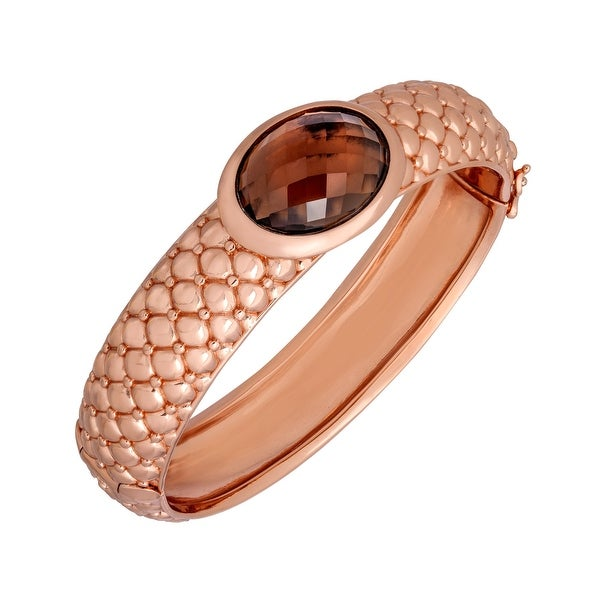 13 ct Smoky Quartz Bangle Bracelet in 18K Rose Gold-Plated Bronze