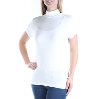 Womens Ivory Short Sleeve Turtle Neck Casual Top Size M